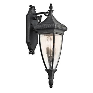 Kichler 49131BKG Outdoor Light, Classic (Formal Traditional) Wall Lantern 2 Light Fixture Black with Gold