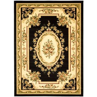 Lyndhurst Collection Black/ Ivory Rug (53 X 76)