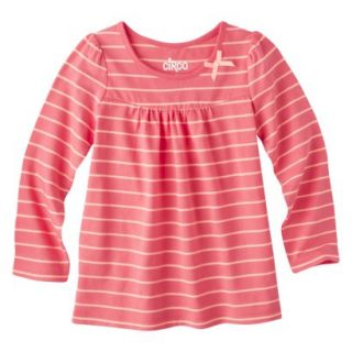 Circo Infant Toddler Girls Long sleeve Stripe Tee   Playful Coral 4T