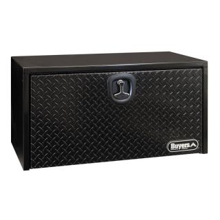 Buyers Black Steel Underbody Toolbox with Black Aluminum Diamond Tread Door