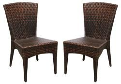 Hamptons Shore Wicker Stackable Outdoor Chairs (set Of 2)
