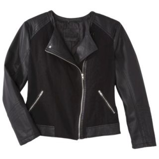 Pure Energy Womens Plus Size Faux Leather Motorcycle Jacket   Black X