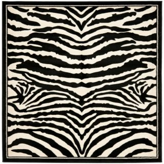 Lyndhurst Collection Zebra Black/ White Rug (7 Square)