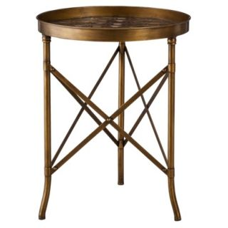 Accent Table Threshold Stamped Metal Accent Table   Gold