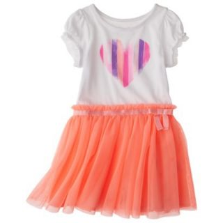 Cherokee Infant Toddler Girls Short Sleeve Empire Dress w/ Tulle Skirt   Moxie