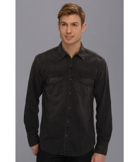 Lucky Brand Black Chambray Western Shirt Mens Long Sleeve Button Up (Blue)