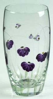 Artland Crystal Purple Passion Highball Glass   Purple Flowers, Green Stems/Leav