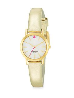 Kate Spade New York Goldtone Gold Metallic Leather Strap Watch   Gold