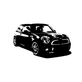 Black Mini Cooper Vinyl Decal (BlackEasy to apply with included instructionsDimensions 22 inches wide x 35 inches long )