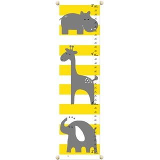 Gray Animals Children Canvas Growth Chart