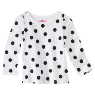 Circo Infant Toddler Girls Long sleeve Dot Tee   White/Black 4T