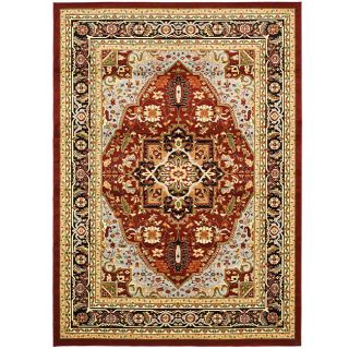 Lyndhurst Collection Traditional Red/black Area Rug (4 X 6)