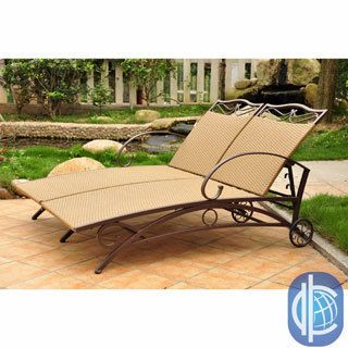 International Caravan Valencia Resin Wicker/ Steel Frame Multi position Double Chaise Lounge (Brown powder coated steel frame, light pecan resin wickerSteel frame coated with an electro phoretic baseCushions not included Weather resistantUV resistantAdjus