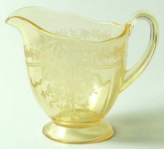 Fostoria June Topaz/Yellow Footed Creamer   Stem #5098, Etch #279, Yellow