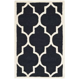 Safavieh Lattice patterned Handmade Moroccan Cambridge Black Wool Rug (2 X 3)