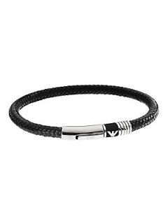 Emporio Armani Gents Stainless Steel and Cord Bracelet   Black