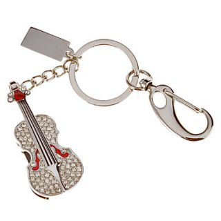 4G Crystal Guitar Shaped USB Flash Drive Keychain