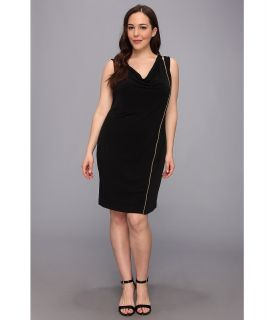 Calvin Klein Plus S/L Solid Zipper Matte Jersey Dress Womens Dress (Black)