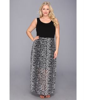 Vince Camuto Plus Size Chiffon Overlay Maxi Animal Tracks Dress Womens Dress (Black)