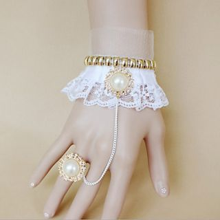 Handmade White Lace Princess Style Sweet Lolita Bracelet with Deluxe Pearl Ring