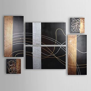 Hand painted Modern Abstract Oil Painting with Stretched Frame   Set of 6