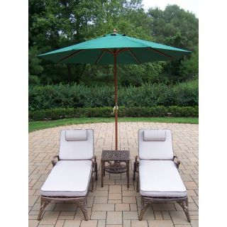 Oakland Living Elite Cast Aluminum Chaise Lounge Chat Set with Umbrella and