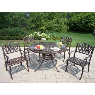 Oakland Living Sunray Cast Aluminum 48 in. Tulip Patio Dining Set   Seats 4