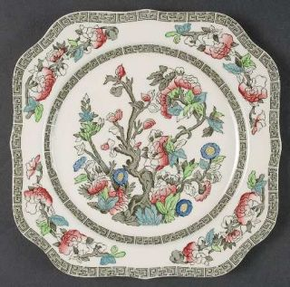 Johnson Brothers Indian Tree (Green Key, Cream) Square Salad Plate, Fine China D