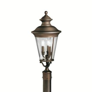 Kichler 9547OZ Outdoor Light, Classic (Formal Traditional) Post Mount 3 Light Fixture Olde Bronze