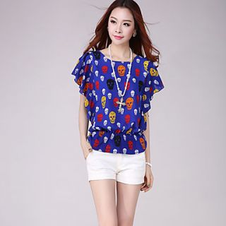 E Shop 2014 Summer Skull Print Bat Sleeve Loose Fit Chiffon Shirt (Royal Blue)
