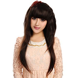 Capless Fashion Long Curly Brown High Quality Synthetic Hair Wigs Full Bang