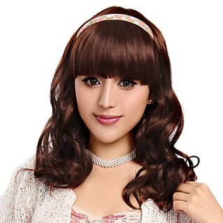 Capless Long Curly Light Brown High Quality Synthetic Hair Wigs Side Bang