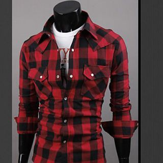 UF Mens Casual Shirt Collar Cotton Small Grid Single breasted Fit Long Sleeve Shirt Red