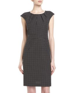 Cap Sleeve Pleated Polka Dot Dress, Black Frosting