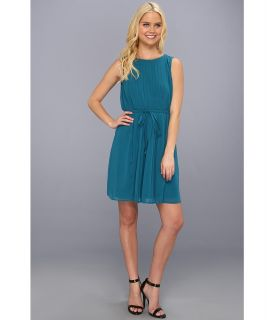 Jessica Simpson Sleeveless Blouson Pleated Dress w/ Back Bodice Detail Womens Dress (Blue)