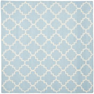 Safavieh Hand woven Moroccan Dhurrie Light Blue/ Ivory Wool Rug (8 Square)
