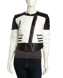 Two Tone Faux Leather Moto Jacket, Black/White