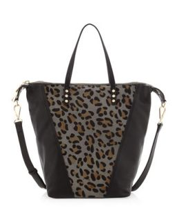 Abbey Leopard Print Calf Hair Tote Bag, Black