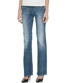 Fezzou Slim Boot Cut Jean, Medium Blue