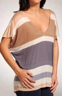 Splendid STP6679 Block Stripe Boxy V Neck Cap Sleeve Top