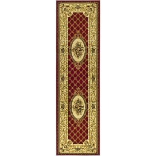 Lyndhurst Collection Traditional Red/ Ivory Runner (2 3 X 8)