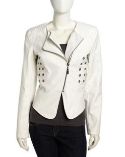 Grommet Faux Leather Moto Jacket, White
