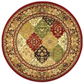 Lyndhurst Collection Multicolor/ Red Rug (53 Round)