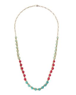 Chain Woven Bead Necklace, Pink/Teal