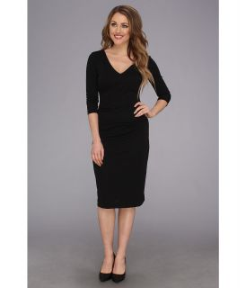 Nicole Miller Three Quarter Sleeve Soft Stretch Jersey Dress Womens Dress (Black)
