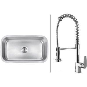 Ruvati RVC1491 Combo Stainless Steel Kitchen Sink and Chrome Faucet Set