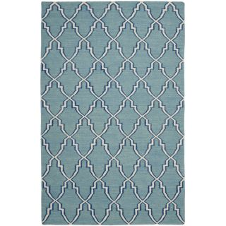 Safavieh Hand woven Moroccan Dhurrie Light Blue/ Ivory Wool Rug (6 X 9)