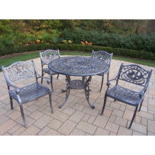 Oakland Living Mississippi Cast Aluminum 42 in. Hummingbird Patio Dining Set