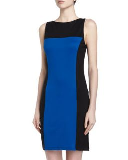 Sleeveless Colorblocked Sheath Dress, Cobalt Ponte