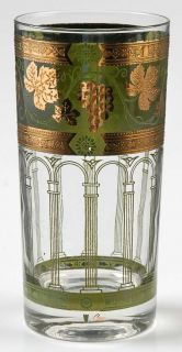 Cera Glass Golden Grapes Green Highball Glass   Gold Grapes On Green Band
